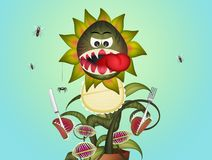 Carnivorous plant with bib. Illustration of carnivorous plant with bib vector illustration