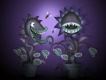 Carnivorous plant in the dark. Funny illustration of carnivorous plant in the dark vector illustration