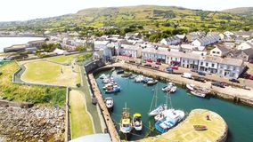 Carnlough bay Glencloy in Co. Antrim Northern Ireland. Carnlough bay Glencloy looking over Irish Sea Co. Antrim Northern Ireland stock image