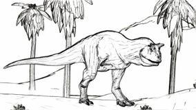 Carnosaur polowania nakreślenia stylu 3d ilustracja ilustracja wektor