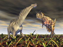 Carnotaurus attacks Amargasaurus. Computer generated 3D illustration with the Dinosaurs Carnotaurus and Amargasaurus Stock Image