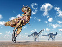 Carnotaurus et Apatosaurus Image stock