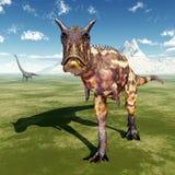 Carnotaurus och Mamenchisaurus Royaltyfri Foto