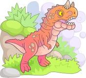 Carnotaurus prehistórico depredador del dinosaurio, ejemplo divertido stock de ilustración