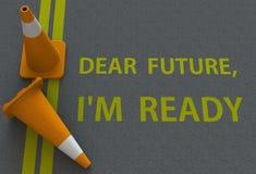 Caro Futuro, Im pronto, mensagem na estrada Imagem de Stock