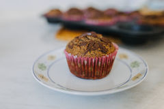 Carob muffin on a white plate stock image