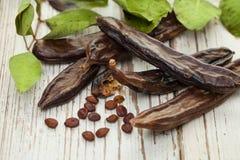 Carob strąki Zdrowi organicznie słodcy carob strąki obrazy royalty free