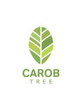 Carob tree leaf logo. Template, vector vector illustration