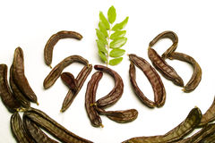 Carob written with pods. Carob writen with carob pods and leaves Stock Images