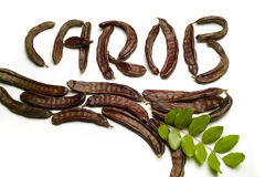 Carob written with pods. Carob writen with carob pods and leaves Stock Photos