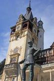 Carol I, King of Romania. A statue of King Carol I in front of Peles Castle, Sinaia, Romania Stock Photo