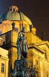 Carol IV statue, king of Bohemia. Prague stock images