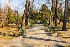 Carol Park in Bucharest, Romania. Empty alley.  royalty free stock photos