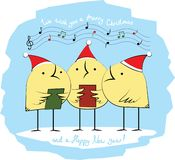 Carol singers birds vector illustration