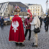 Carol singers. Two carol singers in Krakow on Market Square i old part of city. Poland Stock Image