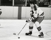 Carol Vadnais. New York Rangers forward Carol Vadnais, #2. (Image taken from b&w negative Royalty Free Stock Photos