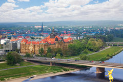 Carolabrucke bridge and Dresden panorama Stock Image