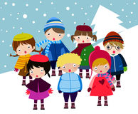 Carolers. Group of Carolers singing (Christmas) songs Stock Images