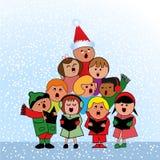 Carolers в форме рождественской елки Стоковое Изображение