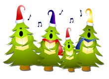 Carolers del árbol de navidad que cantan Imágenes de archivo libres de regalías