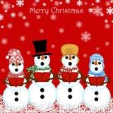 Carolers do boneco de neve do Natal que cantam o vermelho Fotos de Stock