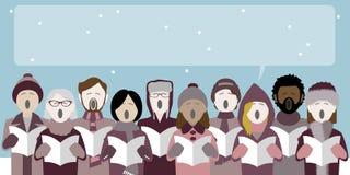 Carolers do Natal que cantam na neve ilustração stock
