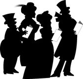 Carolers over white. Carolers at Christmas in retro style and silhouettes Royalty Free Stock Images