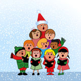 Carolers in shape of  christmas Tree. Multicultural children in tree formation singing in unity Stock Image