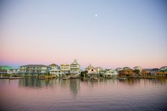 Moonrise over Carolina Beach, North Carolina Stock Photos