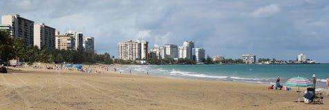 Carolina Beach, Puerto Rico. Panoramic image of the beautiful Carolina Beach in the town of Carolina near San Juan, Puerto Rico royalty free stock photography