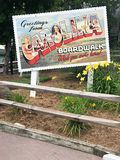 Carolina Boardwalk Postcard Sign d'annata fotografia stock
