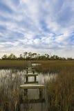 Carolina del Sur costero con el paseo marítimo dañado foto de archivo