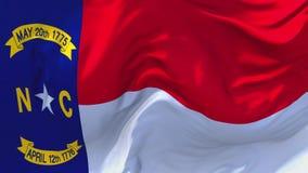 276 Carolina Flag Waving del norte en fondo inconsútil continuo del lazo del viento stock de ilustración