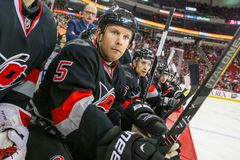 Carolina Hurricanes defenseman Mike Komisarek Royalty Free Stock Photos