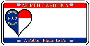 Carolina License Plate du nord illustration stock