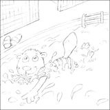 Carolina little beaver swims with armrests ,sketches and pencil sketches and doodles Royalty Free Stock Image
