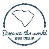Carolina Map Outline du sud Le vintage découvrent Image libre de droits