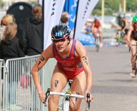 Carolina Routier (ESP) cycling in the triathlon event Royalty Free Stock Images