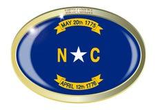 Carolina State Flag Oval Button del nord Fotografia Stock