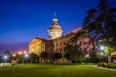 Carolina State House del sud dentro alla notte, in Colombia, C del sud Immagini Stock Libere da Diritti