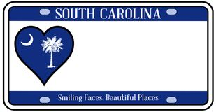 Carolina State License Plate du sud illustration stock