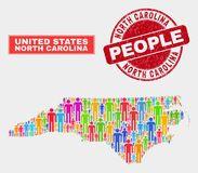 Carolina State Map Population Demographics norte e filigrana de borracha ilustração stock