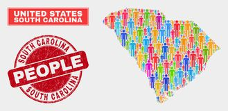 Carolina State Map Population Demographics sul e selo corroído ilustração royalty free