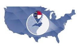 Carolina State norte ampliada no mapa do Estados Unidos ilustração do vetor
