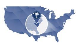 Carolina State sul ampliada no mapa do Estados Unidos ilustração do vetor