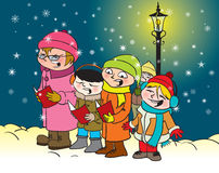 Caroling kids royalty free illustration
