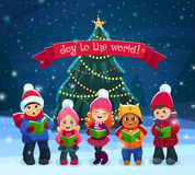 Caroling kids composition Stock Photography