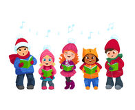 Caroling kids set stock illustration