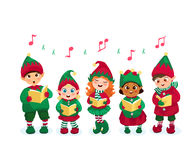Caroling kids set Royalty Free Stock Images