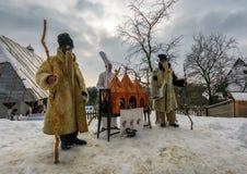 `Carols in old village` festival in TransCarpathia. Uzhgorod, Ukraine - January 15, 2017: `Carols in old village` festival in TransCarpathian Regional Museum of Royalty Free Stock Photo